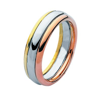 Item # 211331PE - Platinum and 18 kt wedding band. The ring is about 7.0 mm wide and comfort fit. The whole ring is polished. Different finishes may be selected or specified.