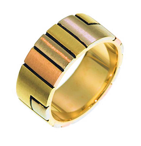 18 Kt Tri-Color Gold Wedding Band