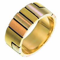 Item # 211341E - 18 Kt Tri-Color Gold Wedding Band