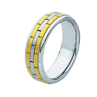 Item # 211351E - 18 Kt Two-Tone Hand Made Brick Wedding Band View-1