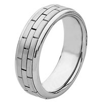 14Kt White Gold Hand Made Brick Wedding Band