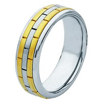 14Kt Two-Tone Hand Made Brick Wedding Band