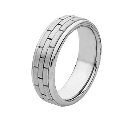 Item # 211351W - 14Kt White gold hand made brick wedding band. The ring is about 7.0 mm wide and comfort fit. The ring is polished. Different finishes may be selected or specified.