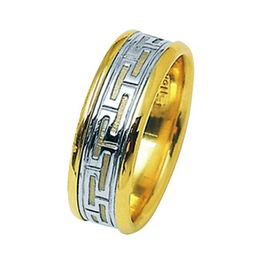 Item # 211361E - 18 Kt Two-Tone Greek Key Wedding Band View-1