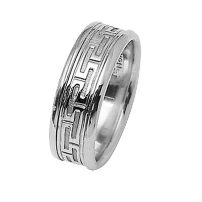 Item # 211361WE - 18Kt White gold greek key wedding band. The ring is about 7.5 mm wide and comfort fit. The ring is polished. Different finishes may be selected or specified.