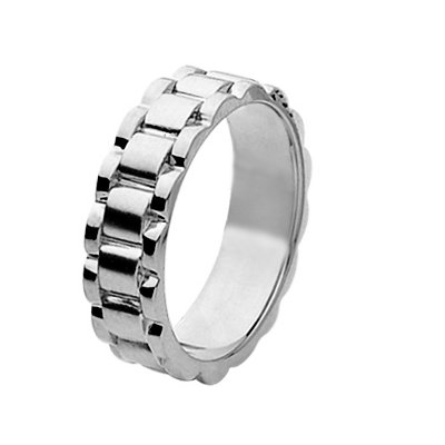 Item # 211371WE - 18Kt White gold wedding band. The ring is about 7.0 mm wide and comfort fit. The ring has a non-flexible watch band style. This ring is polished. Different finishes may be selected or specified.
