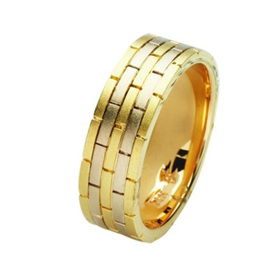 Item # 211381E - 18Kt Two-tone hand made brick wedding band. The ring is about 8.0 mm wide and comfort fit. The ring has a brick-style pattern around the band and a matte finish. Different finishes may be selected or specified.