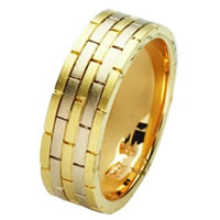 Item # 211381PE - Platinum and 18 Kt Hand Made Brick Wedding Band