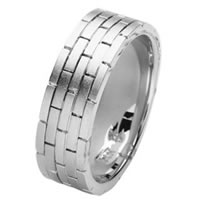 Item # 211381PP - Platinum Hand Made Brick Wedding Band