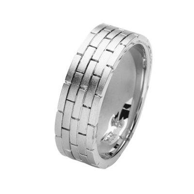 Item # 211381W - 14Kt White gold hand made brick wedding band. The ring is about 8.0 mm wide and comfort fit. The ring has a brick-style pattern around the band and a matte finish. Different finishes may be selected or specified.