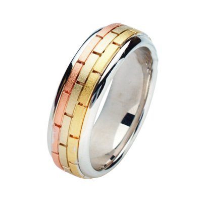 Item # 211391E - 18Kt Tri-color hand made brick wedding band. The ring is about 7.0 mm wide and comfort fit. The center is matte and the outer edges are polished. Different finishes may be selected or specified.