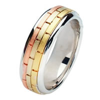 Item # 211391E - 18 Kt Tri-Color Hand Made Brick Wedding Band