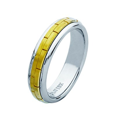 Item # 211401E - 18Kt Two-tone hand made brick wedding band. The ring is about 5.5 mm and comfort fit. The center is matte and the outer edges are polished. Different finishes may be selected or specified.