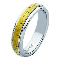Item # 211401E - 18 Kt Two-Tone Hand Made Brick Wedding Band