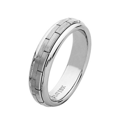 Item # 211401W - 14Kt White gold hand made brick wedding band. The ring is about 5.5 mm and comfort fit. The center is matte and the outer edges are polished. Different finishes may be selected or specified.