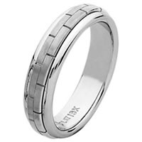 Item # 211401WE - 18 Kt White Hand Made Wedding Band