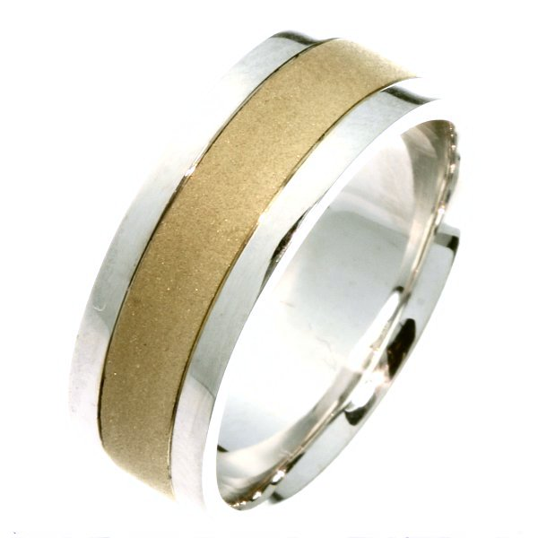 Item # 211411E - 18Kt Two-tone wedding band. The ring is about 8.0 mm wide and comfort fit. The center is a coarse sandblast finish and the outer edges are polished. Different finishes may be selected or specified.