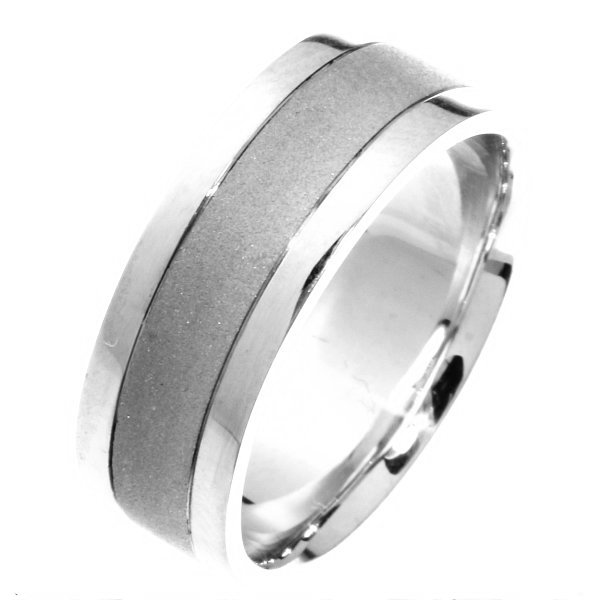 Item # 211411WE - 18Kt White gold wedding band. The ring is about 8.0 mm wide and comfort fit. The center is a coarse sandblast finish and the outer edges are polished. Different finishes may be selected or specified.