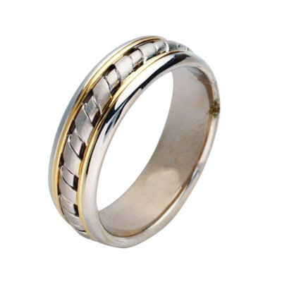 Item # 211441E - 18Kt Two-tone hand made wedding band. The ring is about 8.0 mm wide and comfort fit. There is a handcrafted design in the center and is matte finish. The outer edges are polished. Different finishes may be selected or specified.