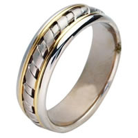 Item # 211441E - 18 Kt Two-Tone Hand Made Wedding Band