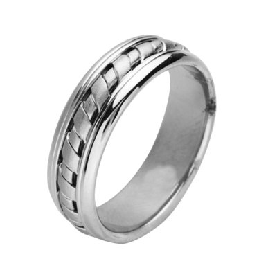 Item # 211441PP - Platinum hand made wedding band. The ring is about 8.0 mm wide and comfort fit. There is a handcrafted design in the center and is matte finish. The outer edges are polished. Different finishes may be selected or specified.