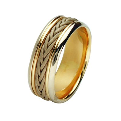 Item # 211451E - 18Kt Two-tone hand made braided wedding band. The ring is about 8.0 mm wide and comfort fit. There is a handmade braid in the center that has a sandblast matte finish. The rest of the ring is polished. Different finishes may be selected or specified.