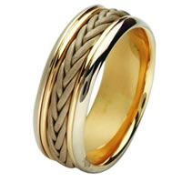 Item # 211451E - 18 Kt Two-Tone Hand Made Braided Wedding Band