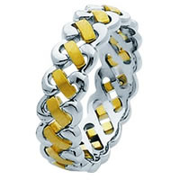 Item # 211471E - 18 Kt Two-Tone Hand Made Braided Wedding Band