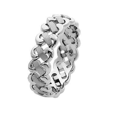 Item # 211471W - 14Kt White gold hand made braided wedding band. The ring is about 6.0 mm wide and comfort fit. The ring is a handmade braid with a polished finish. Different finishes may be selected or specified.