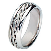 Item # 211481PP - Platinum Hand Made Braided Wedding Band