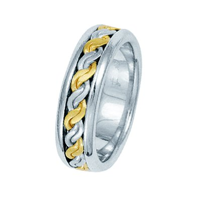 Item # 211491 - 14Kt Two-tone hand made braided wedding band. The ring is about 6.5 mm wide and comfort fit. There is a handmade rope braid in the center with a matte finish. The outer edges are polished. Different finishes may be selected or specified.