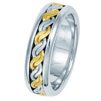 Item # 211491PE - Platinum and 18 Kt Hand Made Braided Wedding Band