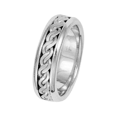 Item # 211491WE - 18Kt White gold hand made braided wedding band. The ring is about 6.5 mm wide and comfort fit. There is a handmade rope braid in the center with a matte finish. The outer edges are polished. Different finishes may be selected or specified.