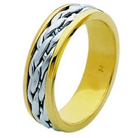 Item # 211501E - 18 Kt Two-Tone Hand Made Braided Wedding Band