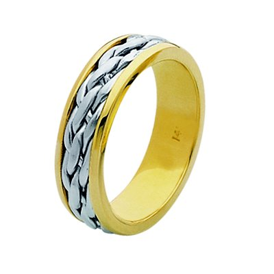 Item # 211501PE - Platinum and 18 kt hand made braided wedding band. The ring is about 7.0 mm wide and comfort fit. The center has a hand made braid that has a matte finish. The outer edges are polished. Different finishes may be selected or specified.