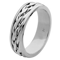 Item # 211501PP - Platinum Hand Made Braided Wedding Band