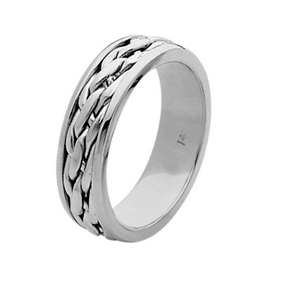 Item # 211501WE - 18Kt White gold hand made braided wedding band. The ring is about 7.0 mm wide and comfort fit. The center has a hand made braid that has a matte finish. The outer edges are polished. Different finishes may be selected or specified.