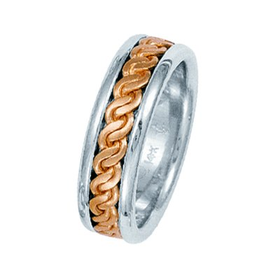 Rose and White Gold Hand Made Braided Wedding Band