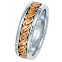 Item # 211511R - Rose and White Gold Hand Made Braided Wedding Band