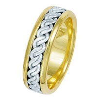 Item # 211511E - 18 Kt Two-Tone Hand Made Braided Wedding Band