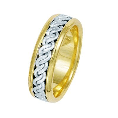 Item # 211511PE - Platinum and 18 kt hand made braided wedding band. The ring is about 7.0 mm wide and comfort fit. The center has a hand made rope braid that has a matte finish. The outer edges are polished. Different finishes may be selected or specified.