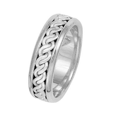 Item # 211511WE - 18Kt White gold hand made braided wedding band. The ring is about 7.0 mm wide and comfort fit. The center has a hand made rope braid that has a matte finish. The outer edges are polished. Different finishes may be selected or specified.
