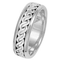 Item # 211511WE - 18Kt White Gold Hand Made Braided Wedding Band