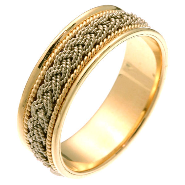 Item # 211521 - 14Kt Two-tone hand made braided wedding band. The ring is about 7.0 mm wide and comfort fit. There is one hand crafted braid in the center. On each side of the braid is one hand made rope. The whole ring is polished. Different finishes may be selected or specified.