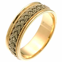 Item # 211521E - 18Kt Two-Tone Hand Made Braided Wedding Band