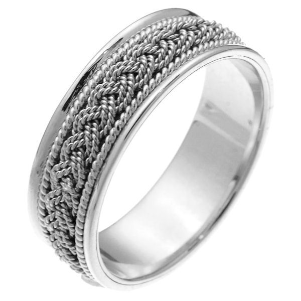 Item # 211521WE - 18Kt White gold hand made braided wedding band. The ring is about 7.0 mm wide and comfort fit. There is one hand crafted braid in the center. On each side of the braid is one hand made rope. The whole ring is polished. Different finishes may be selected or specified.
