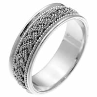 Item # 211521WE - 18Kt White Gold Hand Made Braided Wedding Band