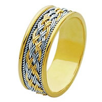 18 Kt Two-Tone Hand Made Braided Wedding Band