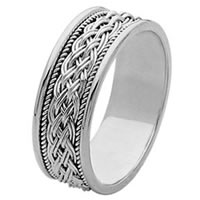18Kt White Gold Hand Made Braided Wedding Band