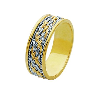 Item # 211531E - 18Kt Two-tone hand made braided wedding band. The ring is about 8.0 mm wide and comfort fit. There is one unique hand crafted braid in the center. On each side of the braid is one hand made rope. The whole ring is polished. Different finishes may be selected or specified.